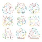 Vector line circle, triangular, hexagonal, pentagonal business infographics Stock Photo