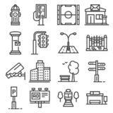 Vector line city elements icons set on white background royalty free illustration