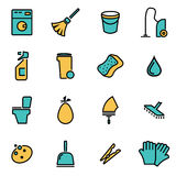 Vector line cleaning icon set Royalty Free Stock Photo