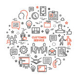 Vector line concept customer service. Linear modern banner helpdesk. Open path Royalty Free Stock Image