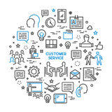 Vector line concept customer service. Linear modern banner helpdesk. Open path Royalty Free Stock Photography