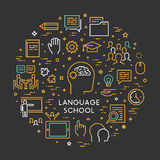 Vector line concept foreign language school Stock Photography