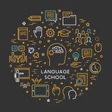 Vector line concept foreign language school. Vector line concept and banner for foreign language school. Open path vector illustration