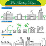 Vector line concept icons of commercial, residential and industr Royalty Free Stock Photography