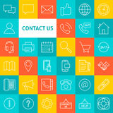 Vector Line Contact Us Icons Stock Image