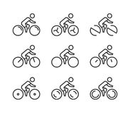 Vector line cycling icon set. Cyclist silhouette figures. Stock Image