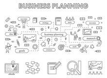 Vector line design concept web banner for business planning. Modern linear horizontal banner for business plan. Line creative style concept for web Stock Image