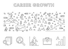 Vector line design concept web banner for career growth. Modern linear horizontal banner for career development. Line creative style concept for web Royalty Free Stock Photos