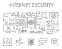 Vector line design concept web banner for internet security. Royalty Free Stock Photo