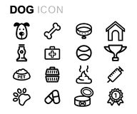 Vector line dog icons set. On white background Royalty Free Stock Image