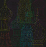 Vector line drawing illustration moscow city night Stock Image