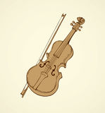 Vector line drawing of a violin and bow Royalty Free Stock Image