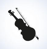 Vector line drawing of a violin and bow Stock Photos