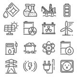 Vector line Energy, electricity, power icons set stock illustration