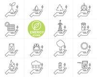 Vector Line ENERGY icon set. Design Royalty Free Stock Photos