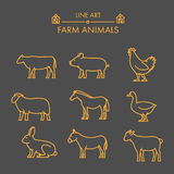 Vector line farm animals icon set. Stock Image