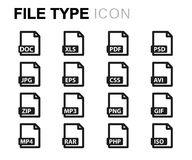 Vector line file type icons set Royalty Free Stock Photography