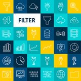 Vector Line Filter Icons. Thin Outline Business Symbols over Colorful Squares Royalty Free Stock Image