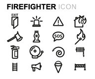 Vector line firefighter icons set. On white background Royalty Free Stock Photos