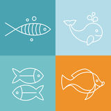 Vector line fish logos and signs. Abstract design elements Royalty Free Stock Images