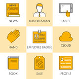 Vector line and flat business icon set for web. Black and yellow Royalty Free Stock Images