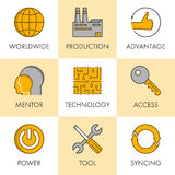 Vector line and flat business icon set for web. Black and yellow Stock Photo