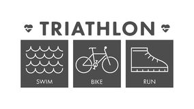 Vector line and flat triathlon logo and symbol. Royalty Free Stock Image