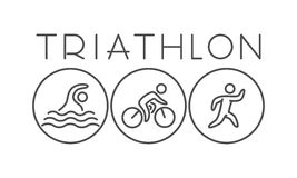 Vector line and flat triathlon logo and symbol. Stock Photography