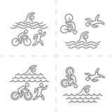 Vector line and flat triathlon logo and symbol. Royalty Free Stock Photos