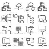 Vector Line Folder Tree Icons set. On White Background Stock Images