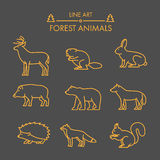 Vector line forest animals icon set. Royalty Free Stock Photos