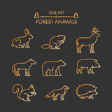 Vector line forest animals icon set. Royalty Free Stock Images