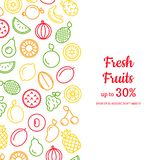 Vector line fruits icons background with place for text illustration royalty free illustration