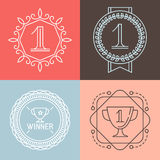 Vector line gamification icons and badges Stock Images