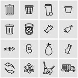 Vector line garbage icon set Royalty Free Stock Images