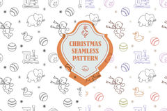 Vector line graphic. Christmas seamless pattern in hipster style. Swatches included. Stock Photo