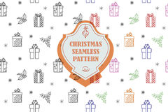 Vector line graphic. Christmas seamless pattern in hipster style. Swatches included. Royalty Free Stock Photo
