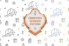 Vector line graphic. Christmas seamless pattern in hipster style. Swatches included. Stock Image