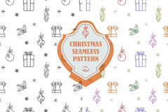 Vector line graphic. Christmas seamless pattern in hipster style. Swatches included. Stock Photography