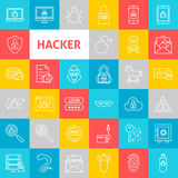 Vector Line Hacker Icons Stock Photos