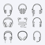Vector line headphones icon set Royalty Free Stock Image