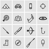 Vector line hunting icon set Royalty Free Stock Images