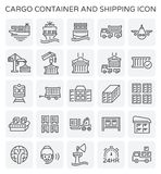 Cargo container icon. Vector line icon of cargo container and shipping work Royalty Free Stock Photos