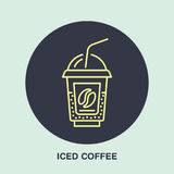 Vector line icon of iced coffee cocktail in disposable cup. Cold drink linear logo. Outline symbol for cafe, bar, shop Stock Photos