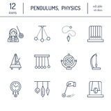 Vector line icon of pendulum types. Newton cradle, metronome, table pendulum, perpetuum mobile, gyroscope. Linear pictogram editab Royalty Free Stock Images