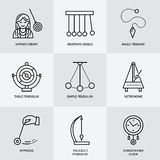 Vector line icon of pendulum types. Newton cradle, metronome, table pendulum, perpetuum mobile, gyroscope. Linear pictogram  for s Stock Images