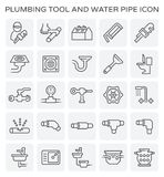 Plumbing tool icon. Vector line icon of plumbing tool and water pipe royalty free illustration