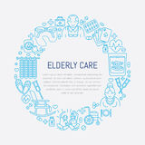 Vector line icon of senior and elderly care. Medical poster template with illustration of old people, wheelchair, leisure, hospit. Modern vector line icon of stock illustration