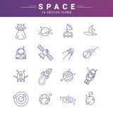 Vector line icon set for astronomy. Linear web symbol for space royalty free illustration