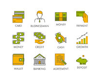 Vector line icon set for banking. Stock Photo